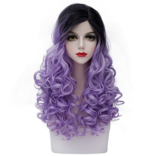 TopWigy Women's Long Curly Wigs Fashionable Ombre 2 Tone Wig Synthetic Cosplay Costume Kinky Full Wigs for Black White Women (Black to Light Purple)