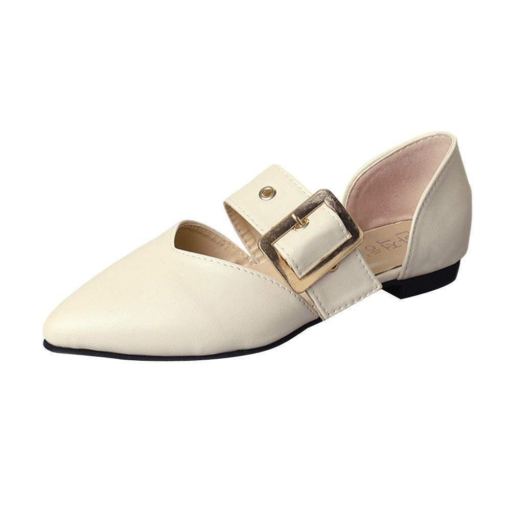 Oudan Schuhe Freizeitschuhe Turnschuhe Turnschuhe Turnschuhe Damen Einzelne Schuhe Stiefel Frauen Flache Ferse Flacher Mund Reine Farbe Schnalle Freizeitschuhe Schuhe (Farbe   Beige, Größe   37 EU) b0979f