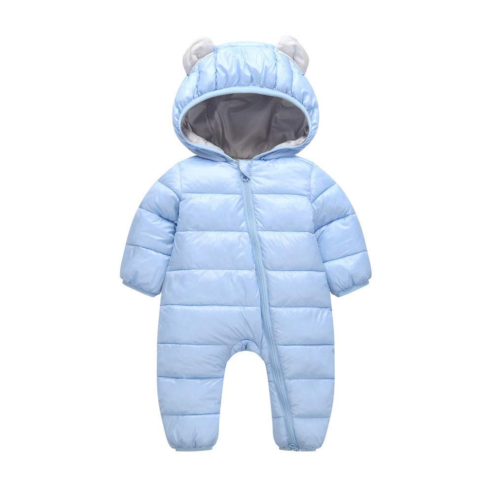 NUWFOR Baby Boys Girls Kid Rompers Children Winter Thick Cotton Warm Clothes Jumpsuit(Blue,12-18 Months)