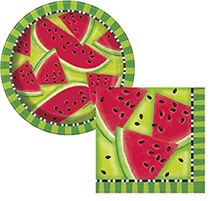 Summer Watermelon Paper Plates \u0026 Watermelon Napkins - Summer Party BBQ Picnic - Serves  sc 1 st  Amazon.com & Amazon.com: Summer Watermelon Paper Plates \u0026 Watermelon Napkins ...