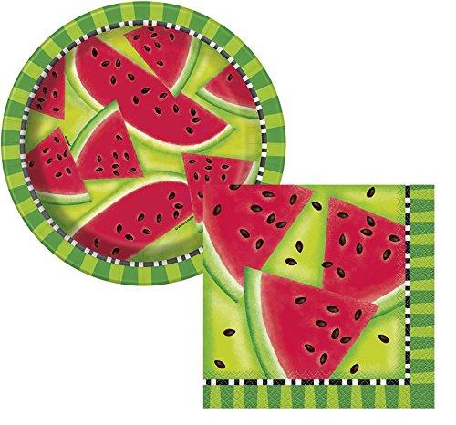 Summer Watermelon Paper Plates & Watermelon Napkins - Summer Party, BBQ, Picnic - Serves 8]()