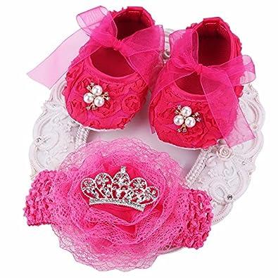c28c682d0 Christening Baptism Newborn Baby Girl Shoes Headband Set