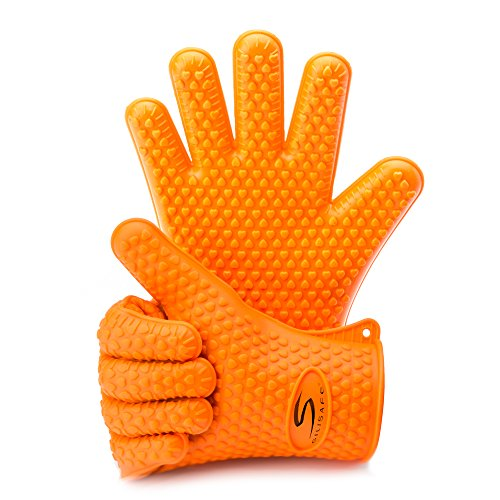 Cooking Gloves Heat Resistant for Traeger, Smoker and Outdoor Grills by SiliSafe