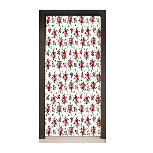 Homesonne Flowers Door Wallpaper Bridal Bouquets Pattern with Roses and Freesia Romantic Victorian Composition Modern Art Pink Ruby Green,W23xH70
