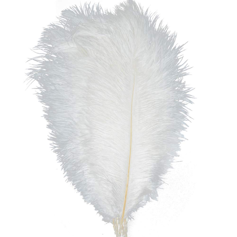 KOLIGHT 100pcs Ostrich Feather White 12''-14'' Natural Feathers Wedding, Party,Home,Hairs Decoration by KOLIGHT (Image #1)
