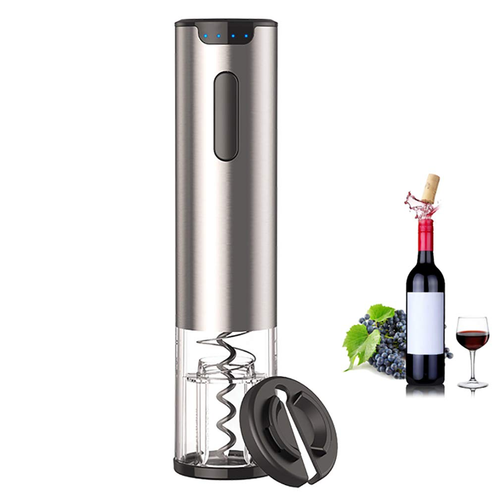 ZDYLM-Y Electric Wine Bottle Opener, Stainless Steel Automatic Corkscrew with USB Battery Power Indicator Light, for Home