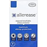 "AllerEase Maximum Allergy Protection Pillow Protectors – Hypoallergenic, Zippered, Allergist Recommended, Prevent Dust Mites, Bed Bugs and Other Allergens, Standard/Queen/Jumbo Sized, 20"" x 28"""