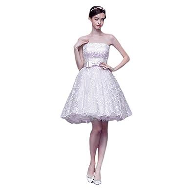 7ef62a0a1 Amazon.com  vimans Women s Short Light Purple Strapless Lace Prom ...