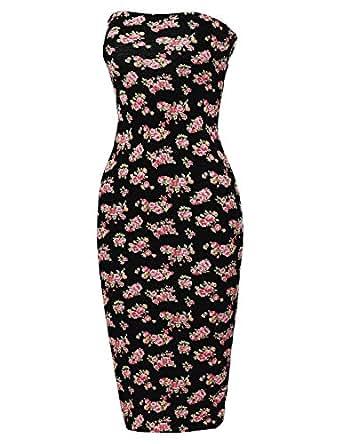 Made by Emma Super Sexy Comfortable Floral Tube Top Body-Con Midi Dress Black S