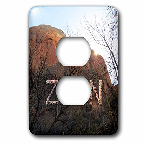 3dRose Jos Fauxtographee- Zion Written in the Mountain - Zion written in the mountain with sun going down at National Park - Light Switch Covers - 2 plug outlet cover - At Zion Outlets
