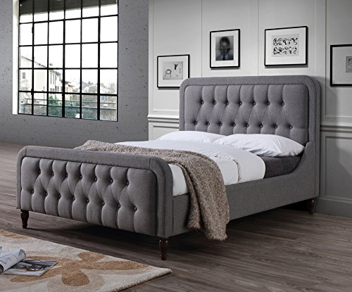 ACME Furniture 25690Q Parisa Queen Bed, Light Gray Fabric (Asian Bedroom Furniture Set)