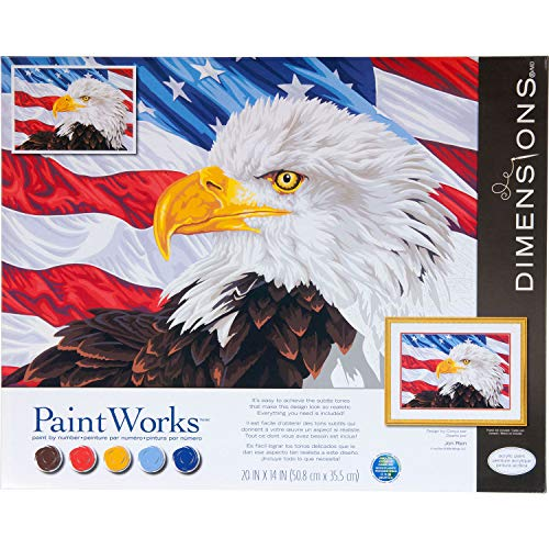 Dimensions 73-91728, Bald Eagle, PaintWorks Paint by Numbers Kit for Adults and Kids, 20'' x 14'