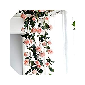 180cm Artificial Rose Flower Vine Wedding Decorative Real Touch Silk Flowers with Green Leaves for Home Hanging Garland Decor 13