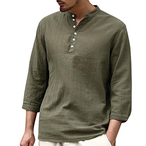 Sin Suelta Camisa Para Color Blusas Hombre 4 Cuello S Suave Ejercito Manga De Top Lino 2xl Trabajo Camisas Sólido Verde 3 Blusa Transpirable Cómodo Casual ZvqZ4w