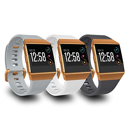 AIUNIT Compatible Fitbit Ionic Bands for Men Women Teens Kids Large with Burnt Orange Buckle, Replacement Strap Sport Accessory Wristband for Fitbit Ionic Smart Watch Gray White Blue-Gray