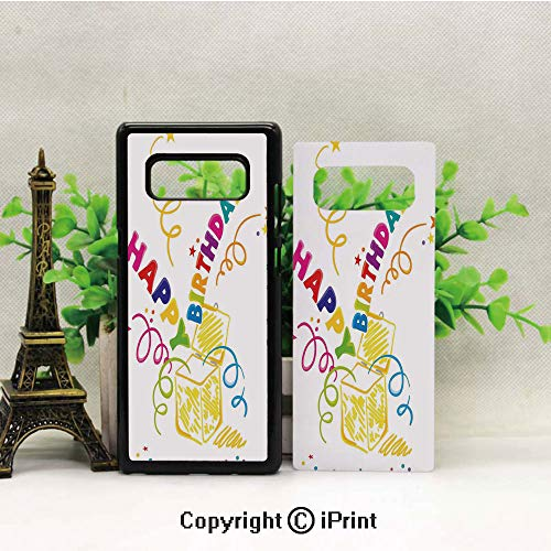 Compatible for Samsung Galaxy Note 8 Case,Surprise in a Box Doodle Style Cheerful Spirals Confetti and Stars Pattern Design Soft & Flexible TPU Ultra-Thin Shockproof Cover, Cases Note 8,Multicolor
