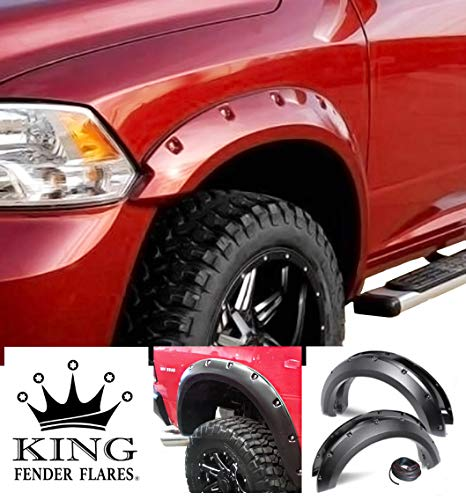 KING FENDER FLARES: Fits 2009-2018 Dodge RAM 1500 - Pocket with Rivet Style 4 Piece Bolt-ON - Smooth Finish - PAINTABLE Flares NO Drill Design