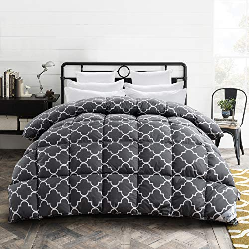 ROSECOSE Luxurious All Seasons Goose Down Comforter King Size Duvet Insert Printed Quatrefoil 1200 Thread Count 750+ FP 100% Cotton Shell Hypo-allergenic Down Proof with Tabs(King,Printed Quatrefoil)