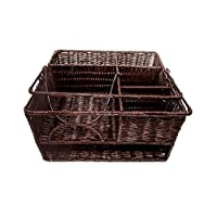 """Trademark Innovations 12"""" x 11""""Rattan Tabletop Serveware and Condiment Organizer and Caddy (Tan)"""