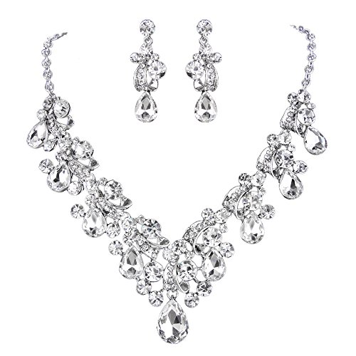 Necklace Earrings Floral Crystal (BriLove Women's Bohemian Boho Crystal Cluster Floral Teardrop Statement Necklace Dangle Earrings Set Clear)