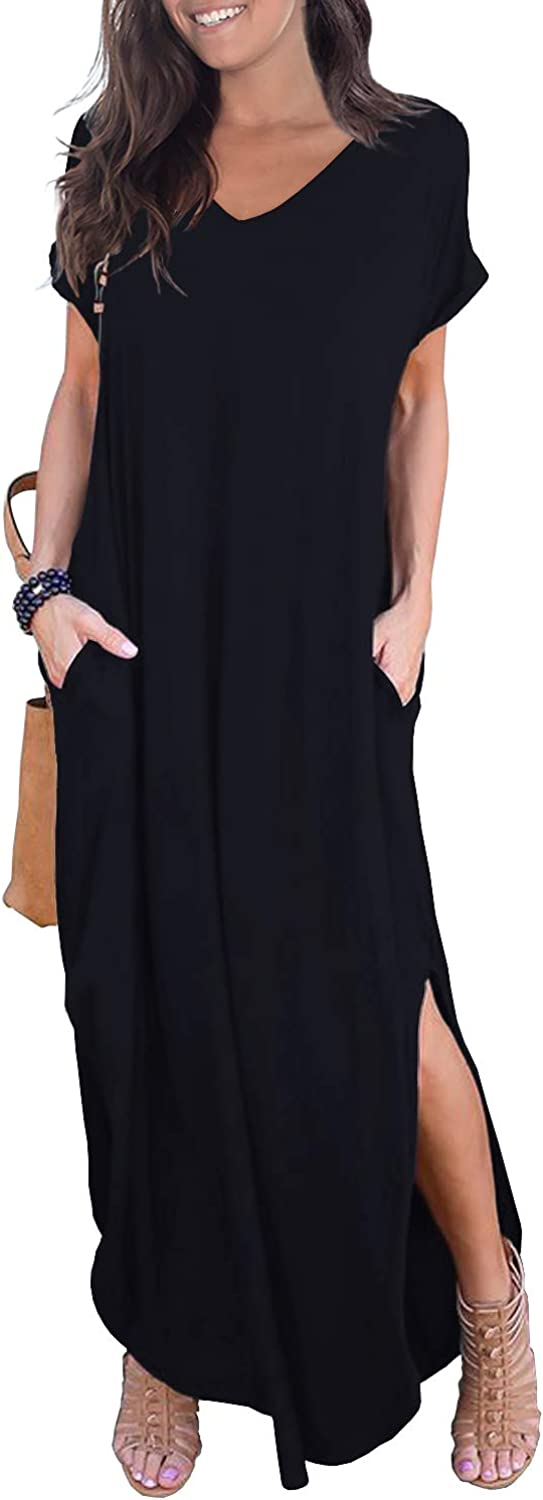 GRECERELLE Women's Casual Loose Pocket Long Dress Short Sleeve Split Maxi Dresses at  Women's Clothing store