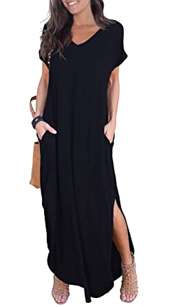 057eb0a72327 GRECERELLE Women s Casual Loose Pocket Long Dress Short Sleeve Split Maxi Dress  Black XS