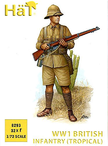 [HaT Set 8293 WWI British Infantry (Tropical) 32 Plastic Toy Soldiers in 8 poses in 1/72 scale] (Toy Soldier Hat)