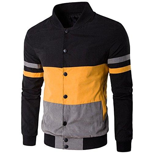 Vjibmt Un Manteau Couleur Galon Hommes Hommes Veste XL de Loisirs col de Manteau Couleur,Jaune - Noir,m
