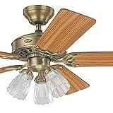 Hunter Fan 52'' Antique Brass Ceiling Fan with Light Kit, 5 Blade (Certified Refurbished)