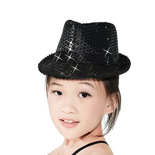 Sequin Fedora Hat (MiDee Sequins Fedora Hat Cap Chapeau for Dance Performance Accessories (Child 54cm, Black))
