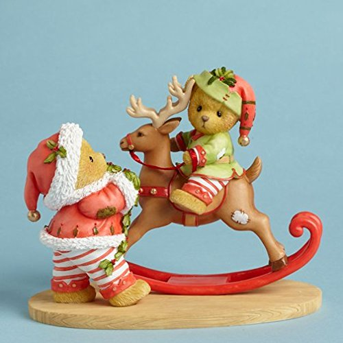 Cherished Teddies Santas Workshop Rocks Bear Riding Reindeer Toy Figurine