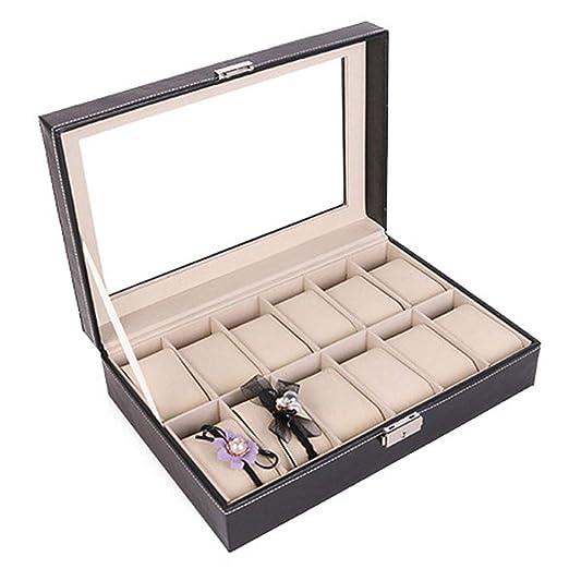 Caja de Reloj 12 Ranuras Estuche de Reloj para Mujer Hombre Organizador de Reloj de Cuero Estuche de Almacenamiento de Pantalla con Tapa de Vidrio: ...