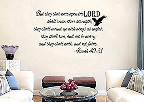 They That Wait Upon Lord Shall Renew Their Strength KJV Bible Verse Art Wall Decals Mural Decor Vinyl Sticker SK4485 (They That Wait Upon The Lord Kjv)