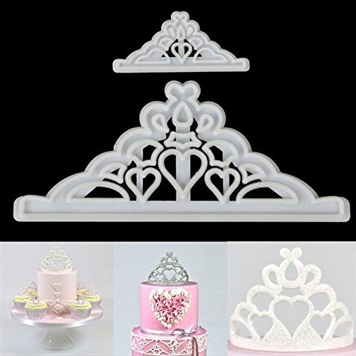 Katoot@ Sugarcraft Cake Cutter Mold 2Pcs/set Crown Silicone Tiara Fondant Icing Cutting Die Cake Cookies Tool For Decoration Baking (Mold Crown Silicone)