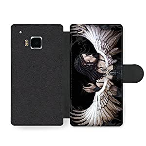 New Goth Scary Dark Punk Rock Style Tattoo Artwork Angel Wings Hot Faux Leather case for HTC One M9 by ruishername