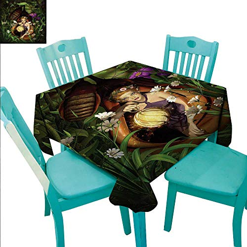 Princess Decorative Textured Fabric Tablecloth A Female Elf Sitting With A Lantern In A Cocoon Mysterious Greenery Nighttime Waterproof/Oil-Proof/Spill-Proof Tabletop Protector 70