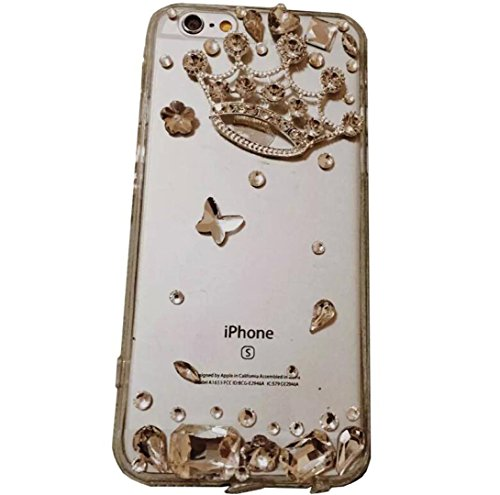 OMORRO iPhone 6/6S Plus Empress Shell,New 3D Noble Sumptuous Handmade Shiny Twinkling Queen Crown Flower Butterfly Crystal Diamond Ultrathin Clear Ant…