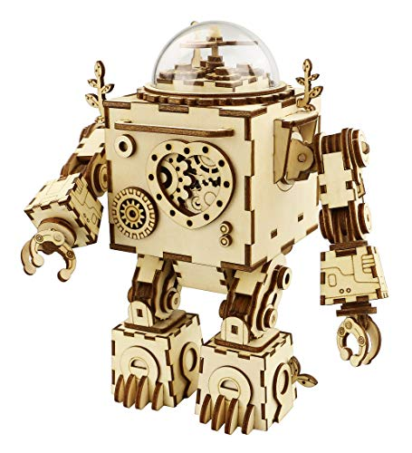RoWood Steam Punk Music Box 3D Wooden Puzzle Craft Toy, Gift for Adults & Kids, Age 14+, Robot DIY Model Building Kits - Orpheus (with LED Light)]()