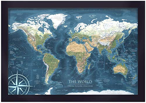 (World Map Push Pin Framed Map - Voyager 2 World Map - Designed by a Professional Geographer (Master's in Geography))