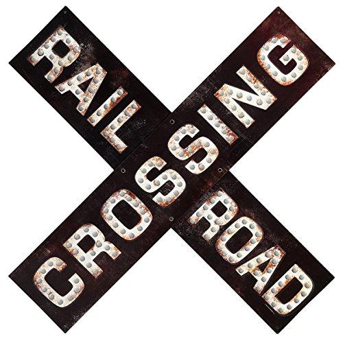 Open Road Brands Railroad Crossing Prismatic Embossed Metal Sign (Open Metal Signs)