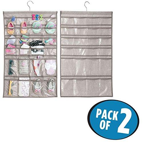 mDesign Juego de 2 organizadores de armarios - 48 bolsillos en cada percha – Estantería colgante para organizar armarios – Ideal para artículos de bebé y diversos accesorios – Color gris MetroDecor 7928MDB