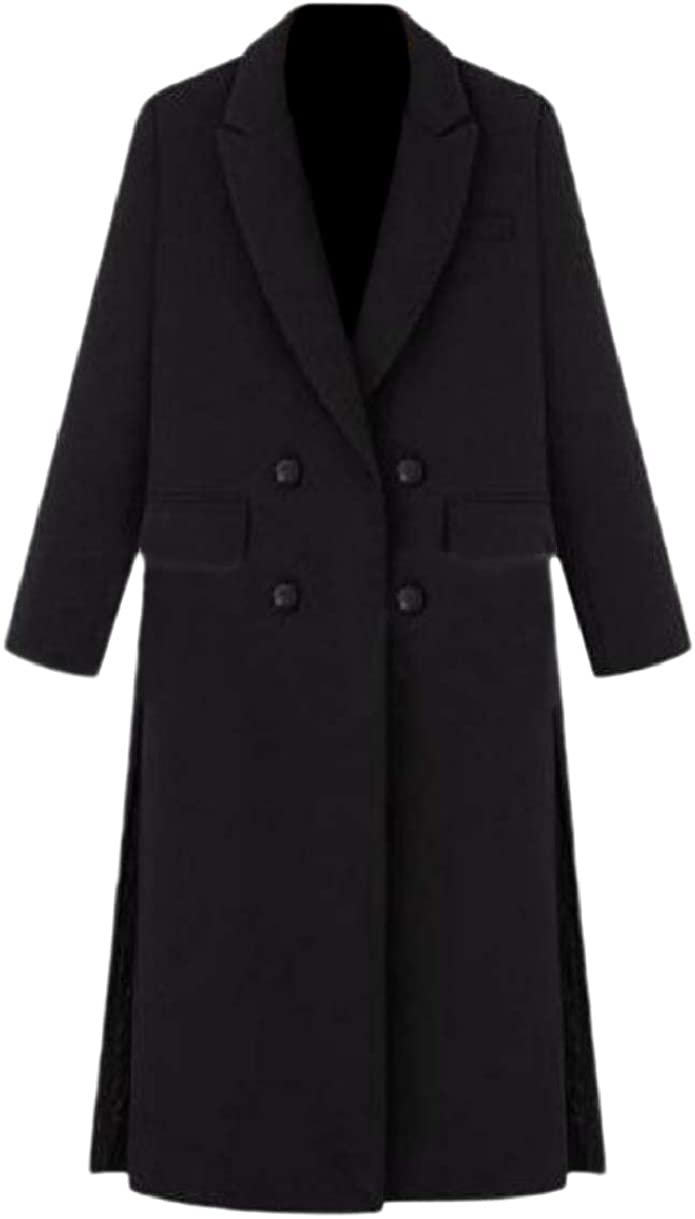 Howme Women Wool Ankle Length Double Breasted Fitted Split Pea Coat