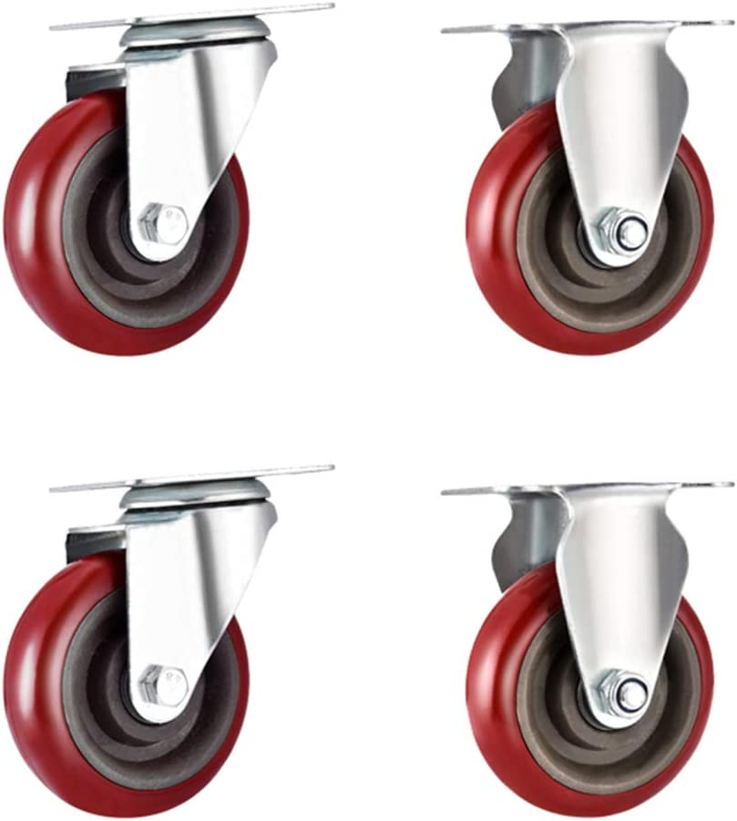 3//4 inches Swivel casters Red Plate casters Fixed casters Bearing Capacity: 280KG Furniture casters LNX-Casters 4 Pieces
