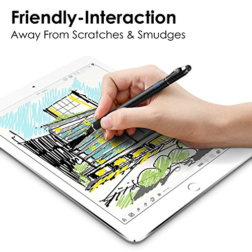 MoKo Active Stylus Pen, 2-in-1 High Sensitivity and Precision Point 1.5mm Capacitive Stylus, with Soft Rubber Tip, for Touch Screen Devices Tablet/Smartphone iPhone X/ 8/8 Plus, iPad, Samsung - Black by MoKo (Image #2)