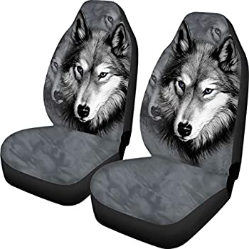 Nixboser Wolf and Indian Dream Catcher Funny Graphic Black Front Seat Covers Protector for Pet Dogs Baby Kids Boys Girls Men Women