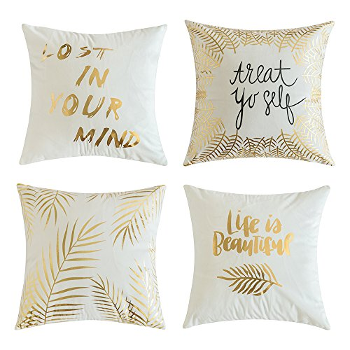 MIULEE Pack of 4, Gold Stamping Soft Soild Decorative Outdoor Square Throw Pillow Covers Set Cushion Case for Sofa Bedroom Car 18 x 18 Inch 45 x 45 cm ()