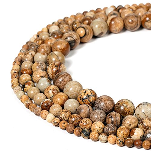 8mm Picture Jasper Beads Round Loose Gemstone Beads for Jewelry Making Strand 15 Inch (47-50pcs)