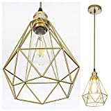 POPILION Vintage Simple Style Polygon Adjustable Cord Hanging Ceiling Gold Pendant Light, 1-Light Pendant Lighting