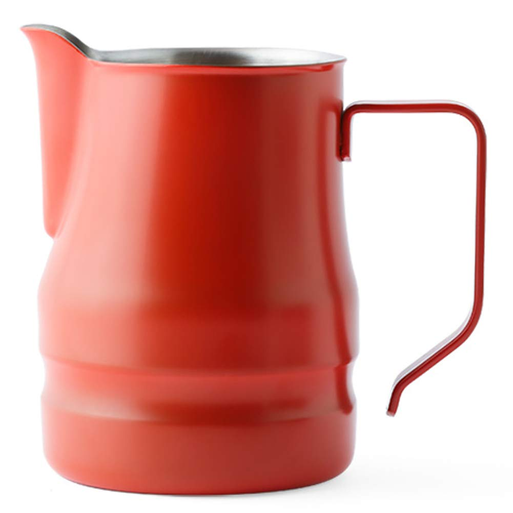 Ilsa Evolution Milk Frothing Pitcher Professional Latte Art Milk Steaming Jug Stainless Steel, Red - 350ml / 12oz
