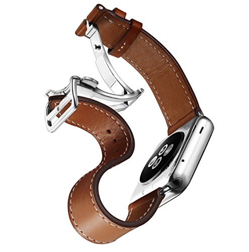 Yatale Apple Watch Band Genuine Leather Band with Metal Clasp for Apple iWatch Lowest Price (Folding buckle Brown